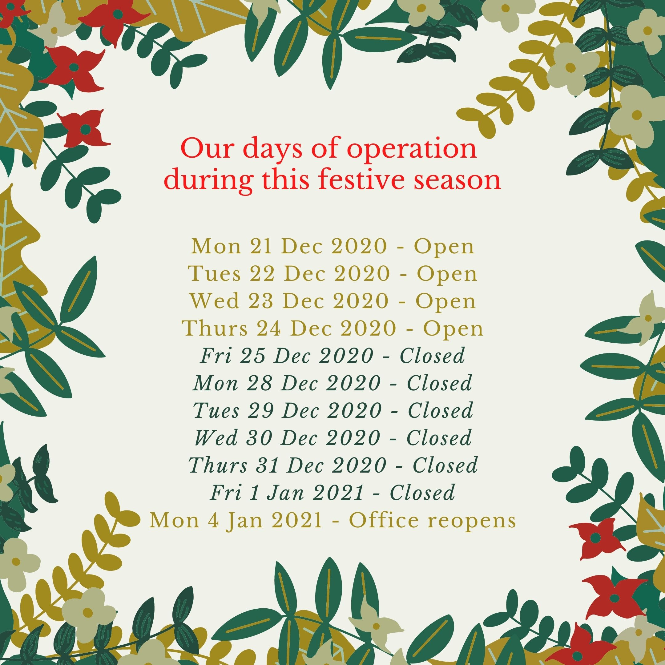 Safe Food festive season closure days of operation